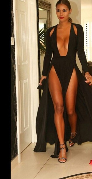 dress swimwear red jumpsuit shoes black outfit high heels cute high heels cute dress black dress long dress long sleeves long sleeve dress red dress clutch bag accessories slit dress style party dress sexy tan splits abyss by abby