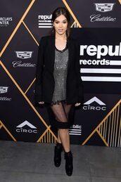 dress,blazer,hailee steinfeld,celebrity,mini dress,metallic,jacket