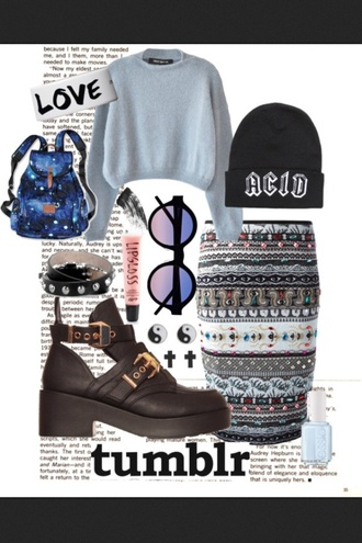 shoes tumblr skirt sweater turquoise sunglasses backpack galaxy print bag