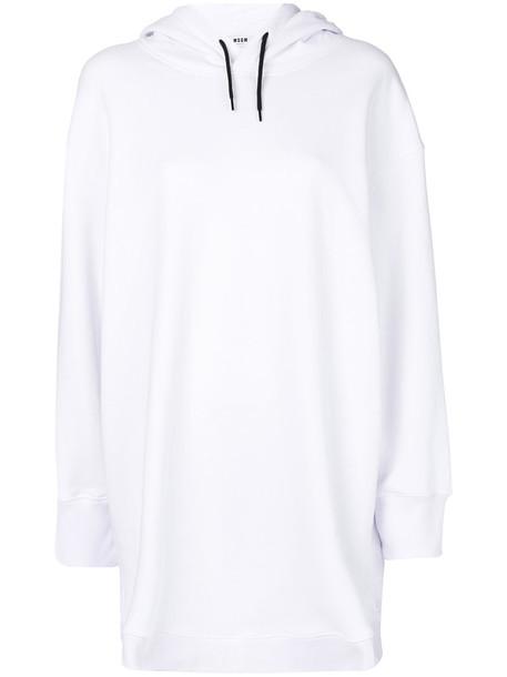 MSGM dress hoodie dress short women white cotton
