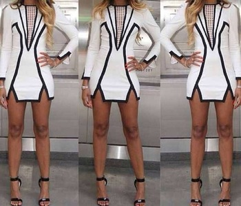 Promotional 2014 Women Spring Black and White Geometric Above Knee Mini Sexy Party Pencil Dress Vintage Celebrity Brand Dresses-in Dresses from Apparel & Accessories on Aliexpress.com