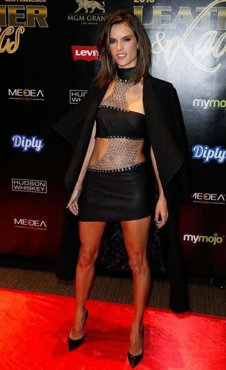 dress edgy pumps alessandra ambrosio mini dress asymmetrical dress bandage dress metallic shoes