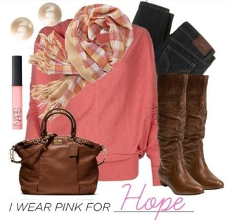 sweater pink jeans denim scarf stripes solid fall outfits boots brown winter outfits november december purse