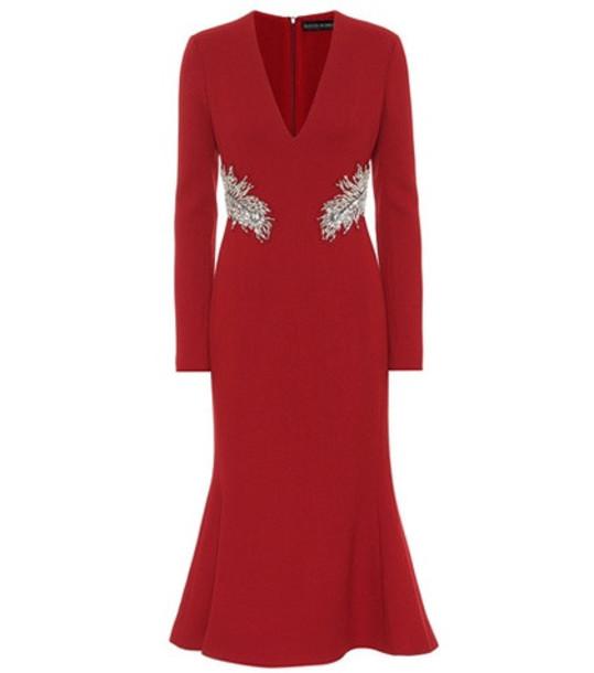 David Koma Embellished wool crêpe dress in red
