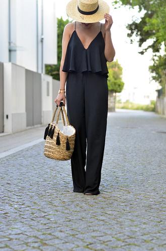 jumpsuit hat tumblr black jumpsuit spaghetti strap bag basket bag sun hat