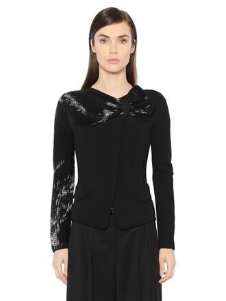 jacket wool jacket bow embellished wool black
