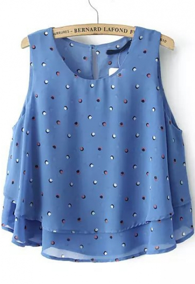 Blue Sleeveless Polka Dot Double Layers Vest