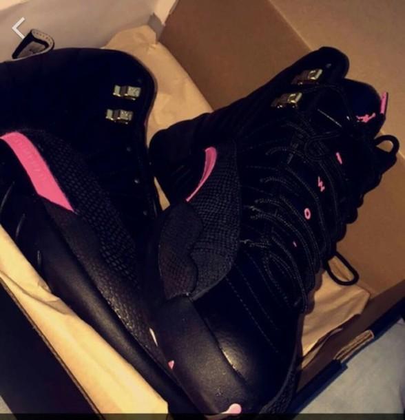 shoes jordans jordan 12 pink black jordans air jordan jordan's shoes retro retro jordans high top sneakers