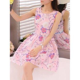 dress pink summer floral spring cute feminine trendsgal.com