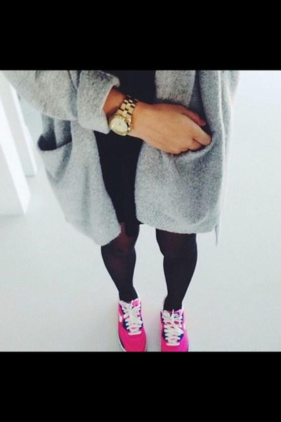 cardigan grey cardigan pink shoes hair accessory shorts shoes