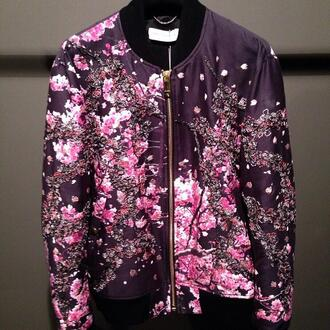 jacket bomber jacket cherry blossom