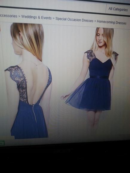 lace dress homecoming dress blue dress