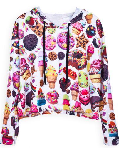 White Hooded Long Sleeve Biscuit Print Sweatshirt
