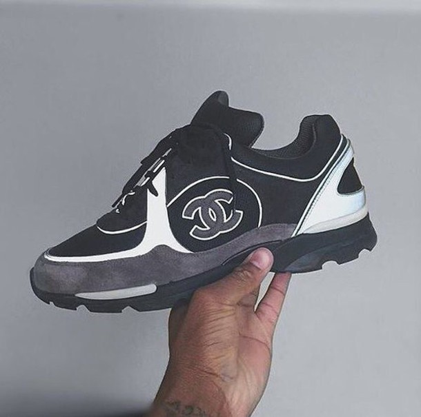 7320c6d91a55 shoes haute couture chanel chanel sneakers streetwear sneakers black and white  tennis shoes