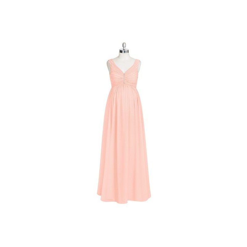 a1742c2e6e7 Coral Azazie Madison - V Neck Floor Length Chiffon Back Zip Stretch Knit  Dress - Simple Bridesmaid Dresses ...