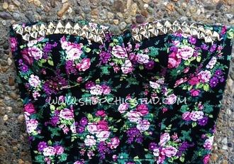 bustier tank top flowers underwear spiked bustier spikes spike floral floral tank top