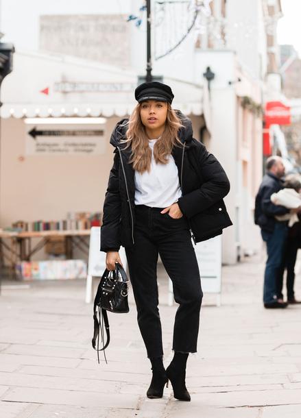 jacket tumblr black jacket hat fisherman cap puffer jacket denim jeans black jeans boots black boots bag