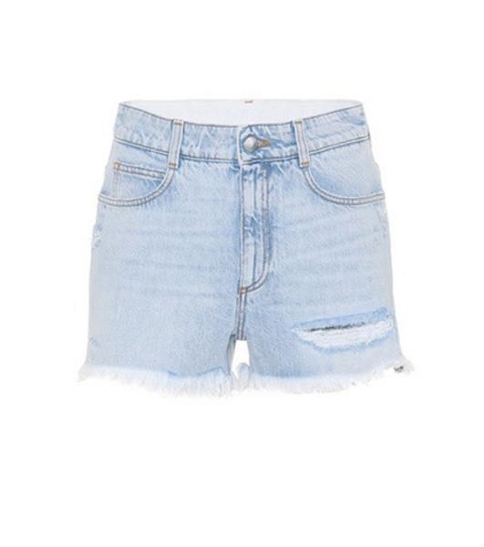 Stella McCartney Distressed denim shorts in blue
