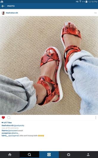 shoes sandles snake print snakepattern snake skin print orange shoes orange summer shoes platform shoes platform sandals