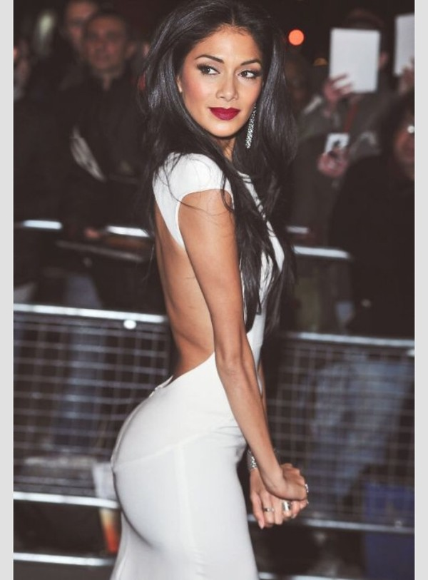 dress nicole sheezingher dress prom dress nicole scherzinger white white dress cut-out dress cute dress
