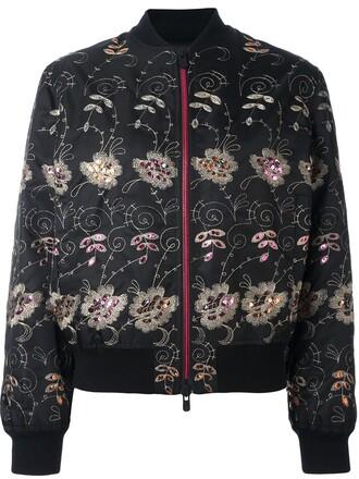 jacket bomber jacket embroidered floral black