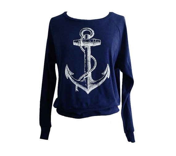 Anchor  sweater  nautical sailor sweater american by friendlyoak