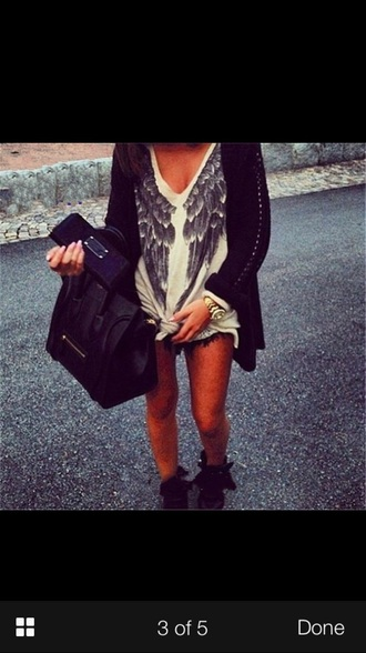 top beige wings angel knit winter outfits long sleeves v neck print sweater celeb style classy fashion bag