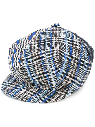 patchwork women hat blue silk wool