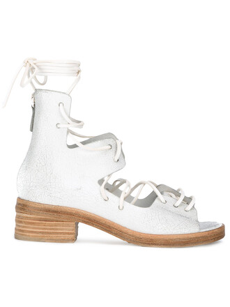 horse women sandals lace leather white shoes