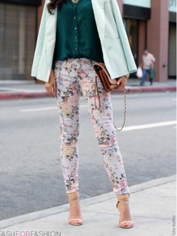 jeans floral floral jeans flowers skinny jeans spring pink