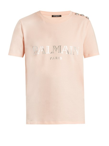 Balmain t-shirt shirt t-shirt print silver pink top