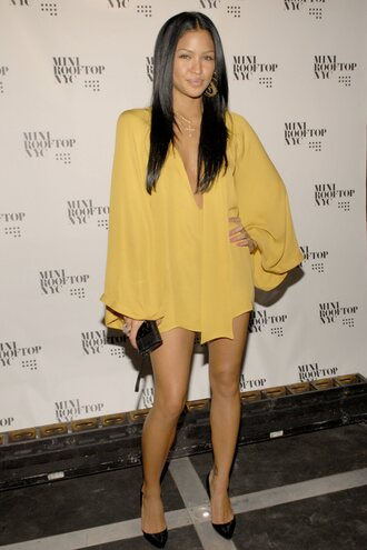 dress cassie ventura yellow dress shirt dress swag sexy dress vneck dress fashion celebrity style style casual