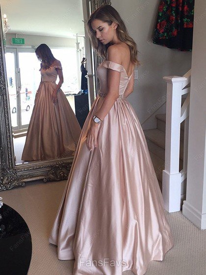 7eba78ded6 Ball Gown Off-the-shoulder Floor-length Satin Prom Dresses with ...
