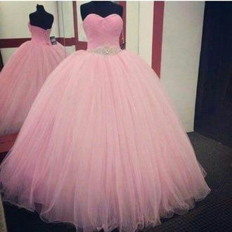 dress pink dress glitter dress dresse ball gown dress pink princess dress wedding dress prom dress blue light blue baby blue gown strapless strapless dress