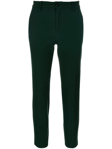 Closed cropped women spandex cotton green pants