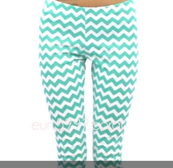 pants leggings chevron mint chevron printed leggings