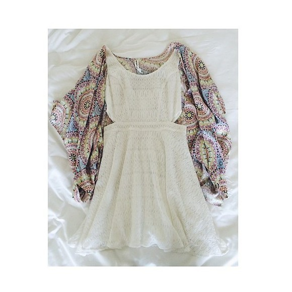 indie indie boho vintage summer outfits cut-out cardigan dress cut out dress wool
