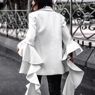 jacket tumblr white blazer blazer ruffle bell sleeves asymmetrical