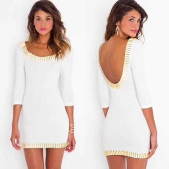 dress white and gold summer backless pretty white white dress gold sequins summer dress backless dress short dress style fashion cute dress chic girly girly dress