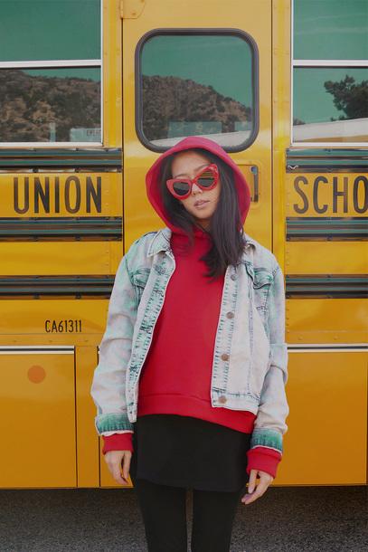 top tumblr hoodie red hoodie jacket denim jacket denim blue jacket sunglasses red sunglasses