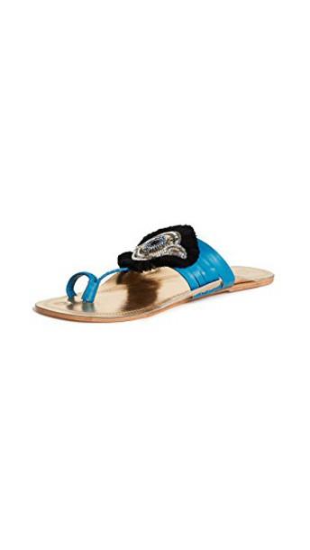 Figue sandals gold blue shoes