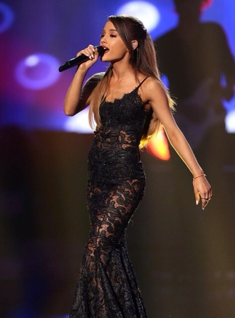 dress lace dress ariana grande earphones black dress