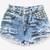 450 Frayed Studded Shorts | RUNWAYDREAMZ
