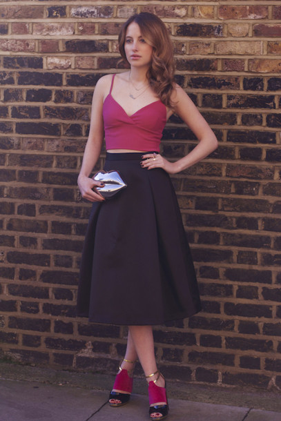 at fashion forte blogger midi skirt tank top lips heels top skirt jewels bag shoes