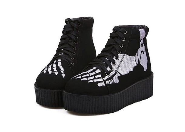 shoes creepers black hipster summer emo goth skeleton goth shoes platform shoes beautiful style
