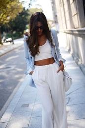 pants,loose,white,blue