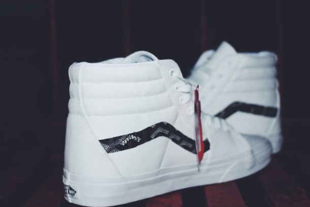 56cf1887abbc shoes vans white shoes sk8-hi high top sneakers white sneakers