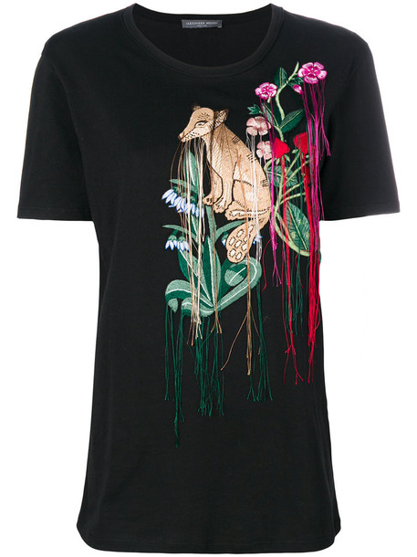t-shirt shirt t-shirt embroidered women cotton black top