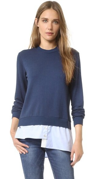 sweatshirt asymmetrical navy sweater