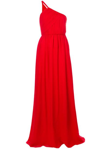lanvin gown women silk red dress